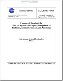 NASA-HDBK-8739.18 Procedural Handbook for NASA Program and Project Management of Problems, Nonconformances, and Anomalies