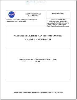 NASA-STD-3001, Volume 1 NASA Space Flight Human System Standard - Volume 1; Crew Health