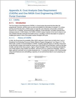 NASA-CEH-APP-A Appendix A; Cost Analysis Data Requirement (CADRe) and One NASA Cost Engineering (ONCE) Portal Overview
