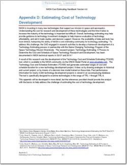 NASA-CEH-APP-D Appendix D; Estimating Cost of Technology Development