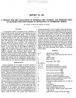 naca-report-808 A Method for the Calculation of External Lift, Moment, and Pressure Drag of Slender Open Nose Bodies of Revolution at Supersonic Speeds-1