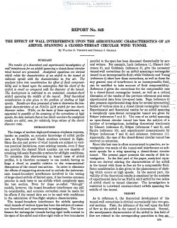 naca-report-849 The Effect of Wall Interference Upon the Aerodynamic Characteristics of an Airfoil Spanning a Closed Throat Circular Wind Tunnel-1
