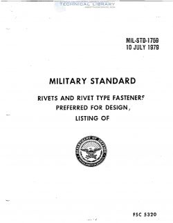 MIL-STD-1759 Rivets and Rivet Type Fasteners Preferred for Design